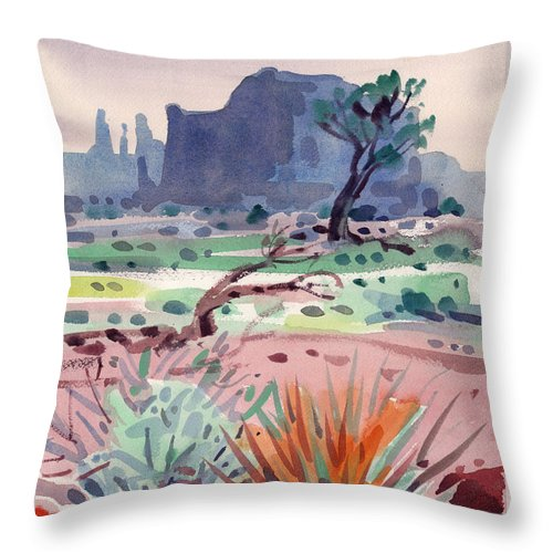 Monument Valley Throw Pillow featuring the painting Yucca And Buttes by Donald Maier