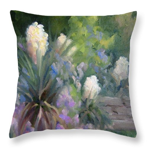 Yucca Throw Pillow featuring the painting Yucca And Wisteria by Bunny Oliver