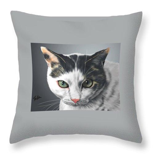Cat Throw Pillow featuring the digital art Yume by Tara