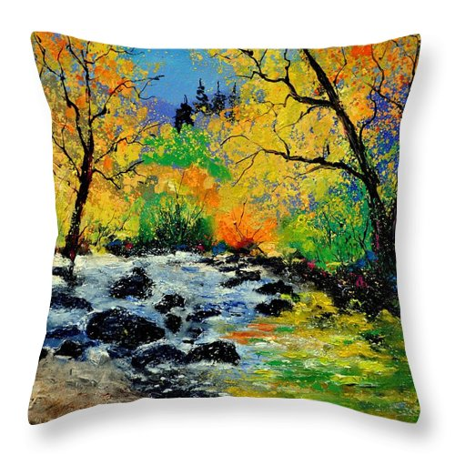 Landscape Throw Pillow featuring the painting Ywoigne 67 by Pol Ledent