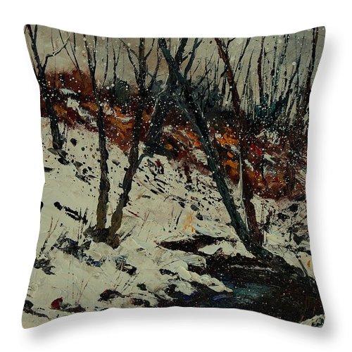 Winter Throw Pillow featuring the painting Ywoigne Snow by Pol Ledent