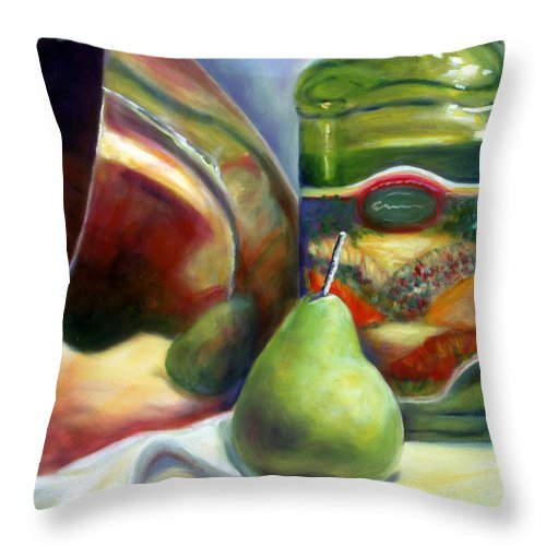 Copper Vessel Throw Pillow featuring the painting Zabaglione Pan by Shannon Grissom