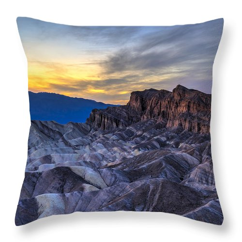 Adventure Throw Pillow featuring the photograph Zabriskie Point Sunset by Charles Dobbs