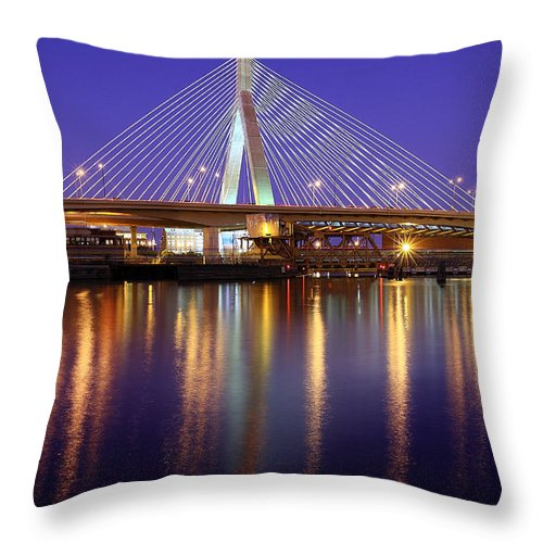 Boston Throw Pillow featuring the photograph Zakim At Twilight II by Rick Berk