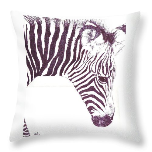 Zebra Throw Pillow featuring the painting Zebra Colt by Debra Sandstrom