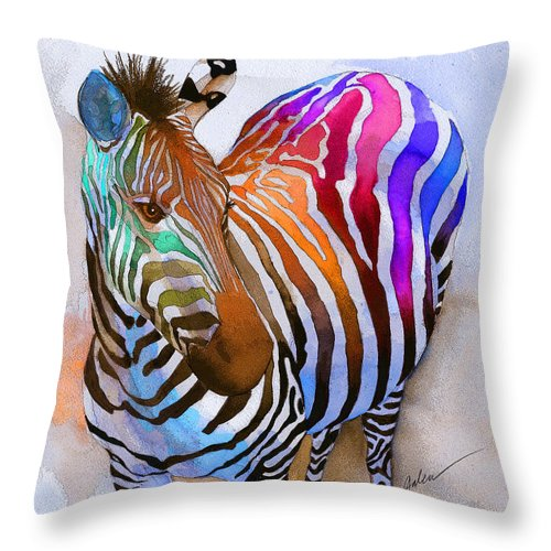 Colorful Throw Pillow featuring the painting Zebra Dreams by Galen Hazelhofer