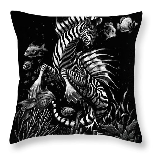 Seahorse Throw Pillow featuring the drawing Zebra Hippocampus by Stanley Morrison