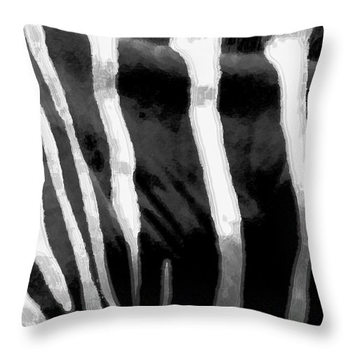 Zebra Art Throw Pillow featuring the photograph Zebra Lines by Linda Sannuti