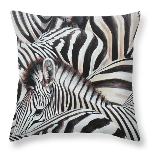 Throw Pillow featuring the painting Zebra Triptyche Middle by Leigh Banks