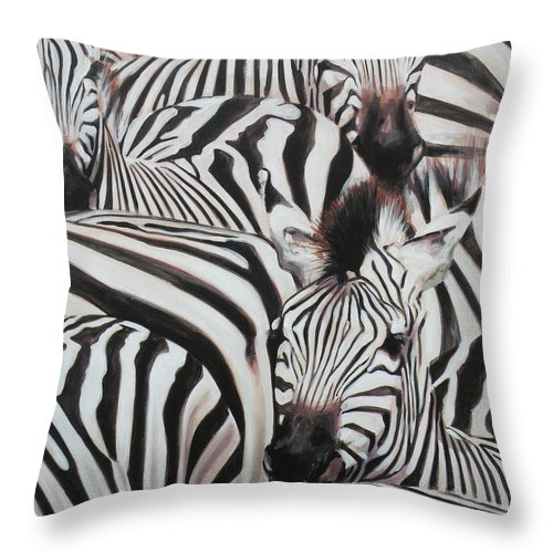 Zebra Throw Pillow featuring the painting Zebra Triptyche Right by Leigh Banks
