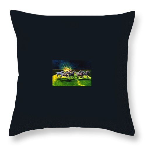 Modern Throw Pillow featuring the painting Zebz by Lance Headlee
