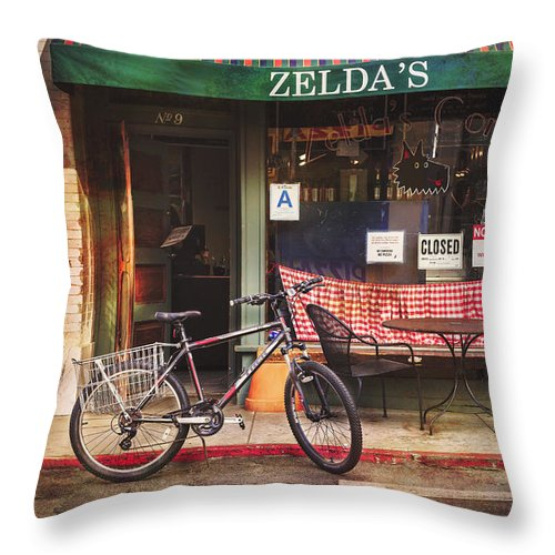 Venice Breach Throw Pillow featuring the photograph Zelda's Bicycle by Craig J Satterlee
