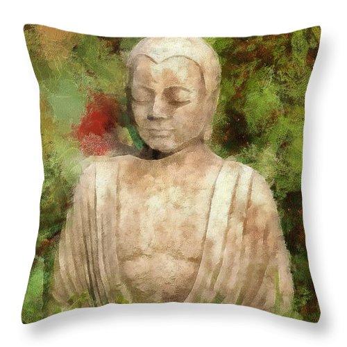 Buddha Throw Pillow featuring the digital art Zen 2015 by Kathryn Strick