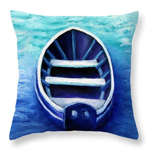 Boat Throw Pillow featuring the painting Zen Boat by Minaz Jantz