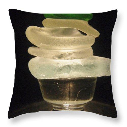 Zen Environmental Glass Sculpture Light Throw Pillow featuring the photograph Zen Light by Kristine Nora