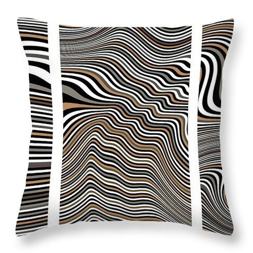 Opart Throw Pillow featuring the painting Zen Stone Garden Triptych by Pet Serrano