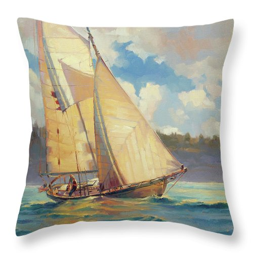 Sailboat Throw Pillow featuring the painting Zephyr by Steve Henderson