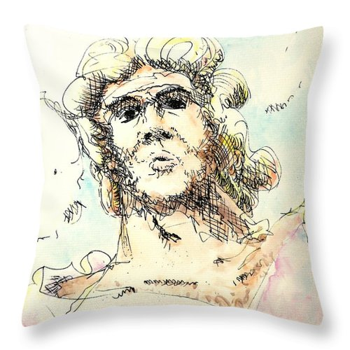 Zeus Throw Pillow featuring the painting Zeus by Dave Martsolf