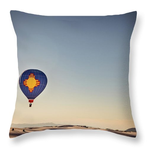 Alamogordo Throw Pillow featuring the photograph Zia Flight At White Sands by Gestalt Imagery