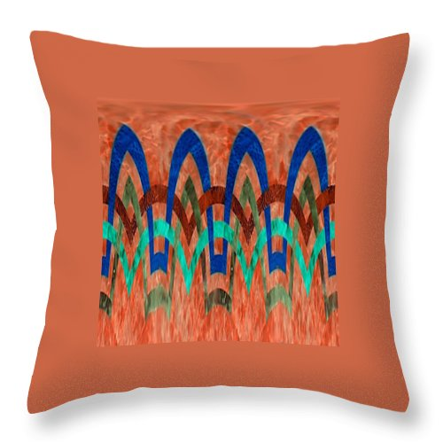 Orange Background Throw Pillow featuring the digital art Zig Zag Pattern On Orange by Barbara Griffin