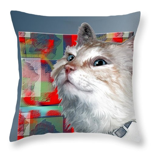 Cat Throw Pillow featuring the digital art Ziggy by Sherry Shipley