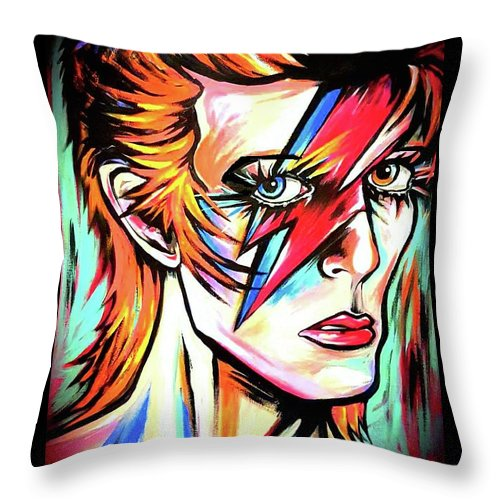 David Bowie Throw Pillow featuring the painting Ziggy Stardust by Amy Belonio