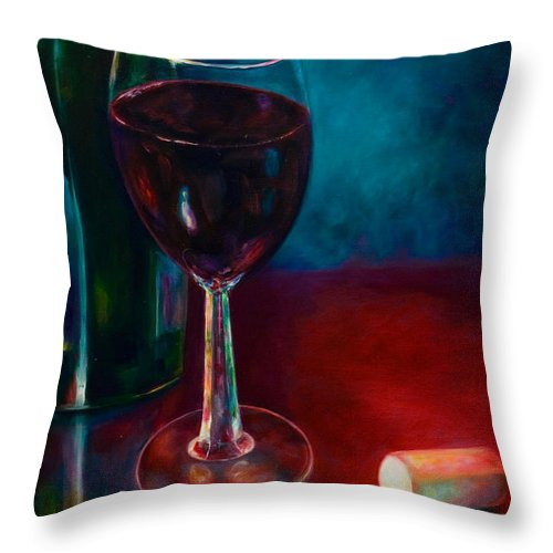 Wine Bottle Throw Pillow featuring the painting Zinfandel by Shannon Grissom