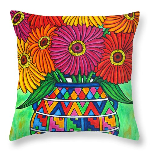 Zinnia Throw Pillow featuring the painting Zinnia Fiesta by Lisa Lorenz
