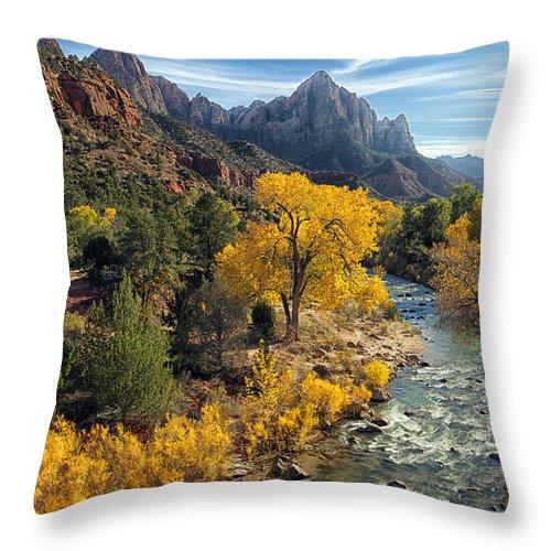 Zion National Park Throw Pillow featuring the photograph Zion Fall Foliage by Gigi Ebert