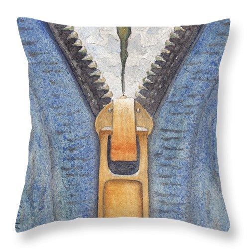 Zipper Throw Pillow featuring the painting Zipper by Ken Powers