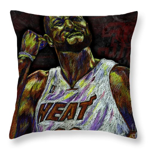 Alonzo Mourning Throw Pillow featuring the drawing Zo by Maria Arango