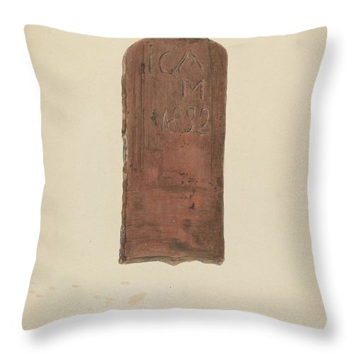 Throw Pillow featuring the drawing Zoar Pottery Roof Tile by Ralph Russell