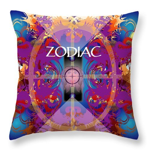 Abstaract Throw Pillow featuring the digital art Zodiac 2 by George Pasini