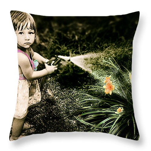 Children Throw Pillow featuring the photograph Zoe Waters The Flowers by Karen W Meyer