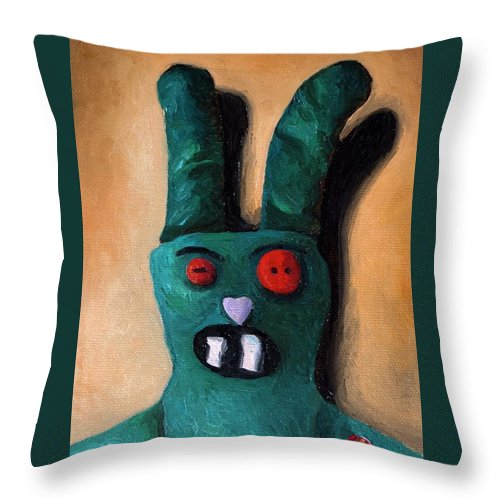 Zombie Throw Pillow featuring the painting Zombie Bunny by Leah Saulnier The Painting Maniac