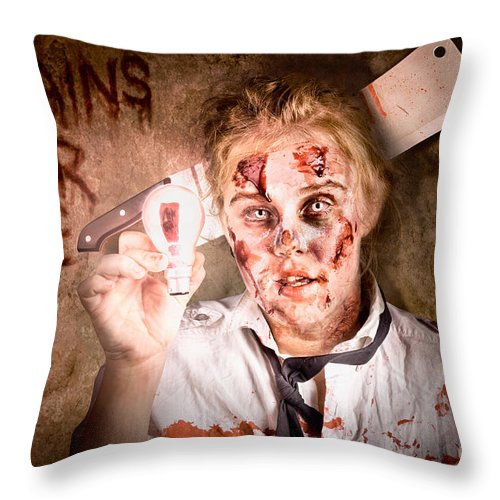 Bad Throw Pillow featuring the photograph Zombie Holding Bright Light Bulb. Brains For Hire by Jorgo Photography - Wall Art Gallery