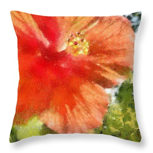 Zoo Throw Pillow featuring the painting Zoo Flower by Jeffrey Kolker