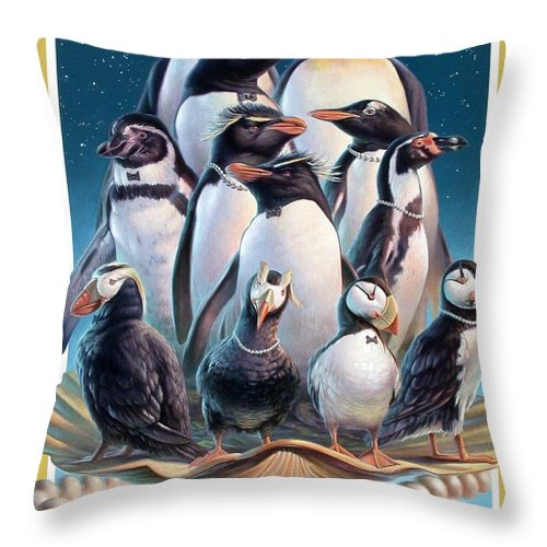 Zoofari Throw Pillow featuring the painting Zoofari Poster 2004 The Penguins by Hans Droog