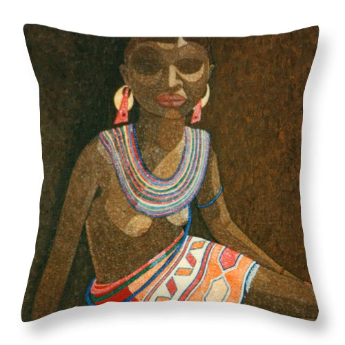Zulu Woman Throw Pillow featuring the painting Zulu Woman With Beads by Madalena Lobao-Tello