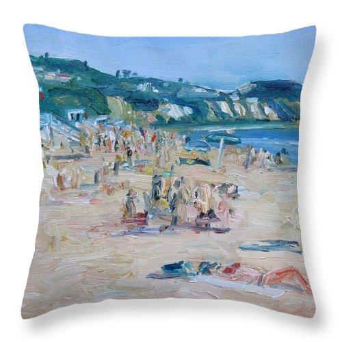 Malibu Throw Pillow featuring the painting Zuma Beach by John Kilduff