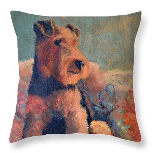 Pet Throw Pillow featuring the painting Zuzu by Keith Burgess