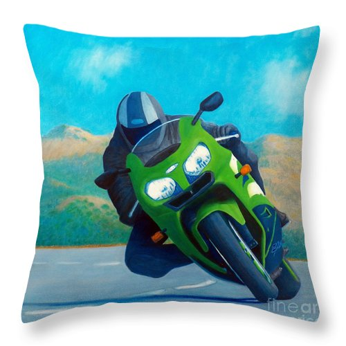 Motorcycle Throw Pillow featuring the painting ZX9 - California Dreaming by Brian Commerford