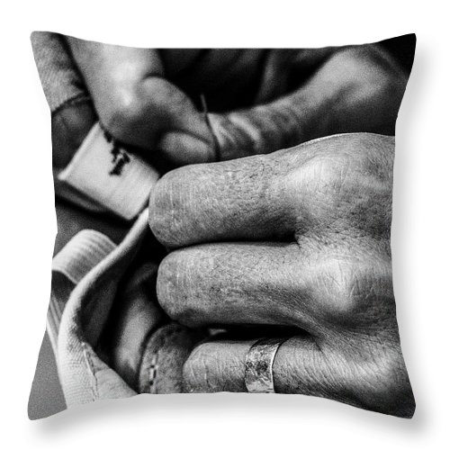 Sewing Throw Pillow featuring the photograph 016 - Theresa Sewing by David Ralph Johnson