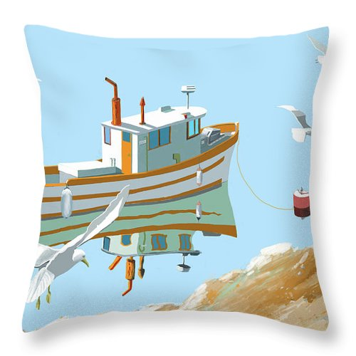 Seagull Sea Gull Sea Ocean Lake River Fish Boat Fishing Troller Trawler Sailing Sailboat Landscape Seascape Throw Pillow featuring the digital art A contemplation of seagulls by Gary Giacomelli