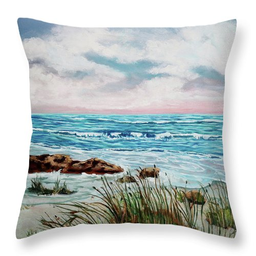 Oil Painting Throw Pillow featuring the painting A Morning View by Carole Sluski