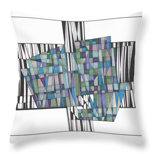 Abstract Throw Pillow featuring the drawing Abstract 39 by Rickie Jacobs