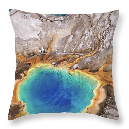 Geyser Throw Pillow featuring the photograph Aerial View Of Grand Prismatic Spring by Holger Leue