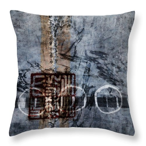 Abstract Throw Pillow featuring the mixed media Aged Indigo by Carol Leigh