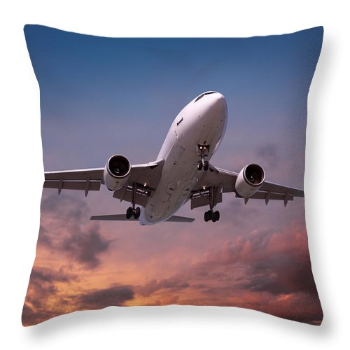 Taking Off Throw Pillow featuring the photograph Airplane Landing In Sunset Light by Narvikk