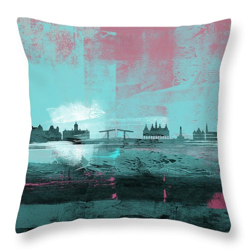 Amsterdam Throw Pillow featuring the mixed media Amsterdam Abstract Skyline I by Naxart Studio